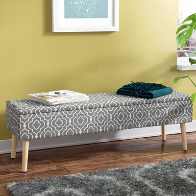 "Valdivia Mid Century Upholstered Storage Bench Size: 17"" H x 52"" W x 15"" D, Color: Gray"