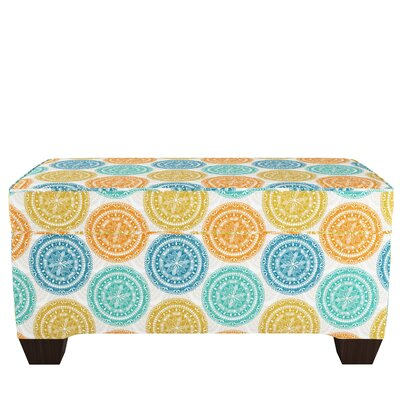 Upholstered Storage Bench Body Fabric: Pen Medallion Yellow Blue