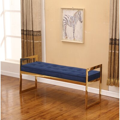 """Marez Upholstered Bench Size: 22"""" H x 40"""" W x 16"""" D, Upholstery: Blue/Gold"""