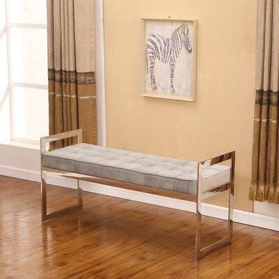 "Marez Upholstered Bench Size: 22"" H x 47"" W x 16"" D, Upholstery: Gray/Silver"