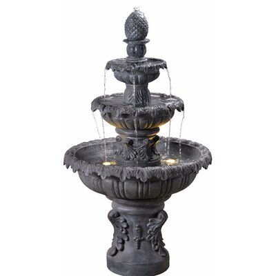 Danelle Resin Outdoor Fountain with Light Finish: Zinc