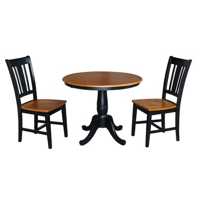 Politte 3 Piece Extendable Dining Set Finish: Black/Cherry