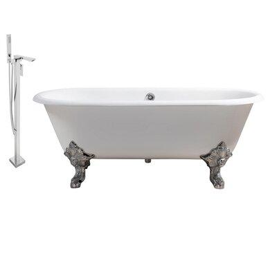 "Cast Iron 69"" x 31"" Clawfoot Soaking Bathtub Feet Finish: Chrome, Color: White"