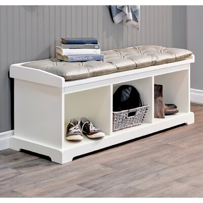 Brookwood Wood Storage Bench Color: White