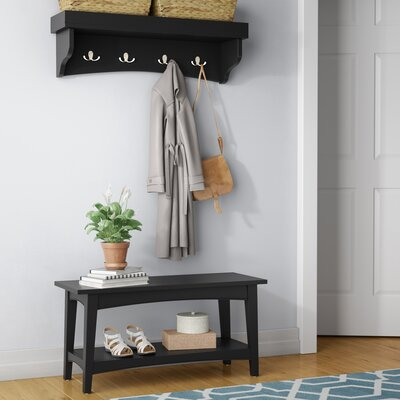 Bel Air -Piece Hall Tree Coat Hook and Bench Set Color: Charcoal