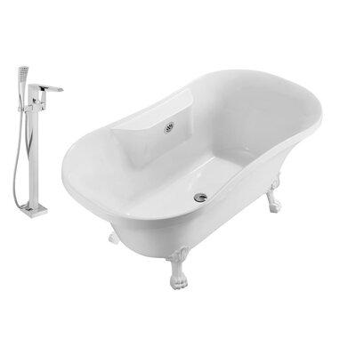 "68"" x 34"" Clawfoot Freestanding Soaking Bathtub Drain Finish: Chrome, Feet Finish: White"