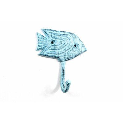 Derell Iron Angel Fish Wall Hook Color: Blue