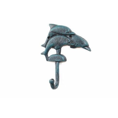 Skipworth Cast Iron Decorative Dolphins Wall Hook Color: Blue