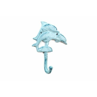 Skipworth Cast Iron Decorative Dolphins Wall Hook Color: Light Blue