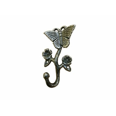Brondon Cast Iron Butterfly Wall Hook Color: Silver