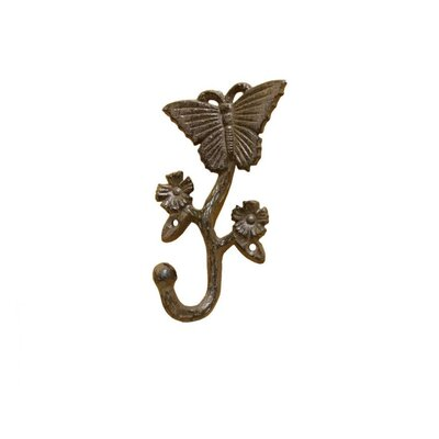 Brondon Cast Iron Butterfly Wall Hook Color: Brown