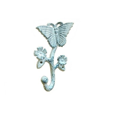 Brondon Cast Iron Butterfly Wall Hook Color: Light Blue