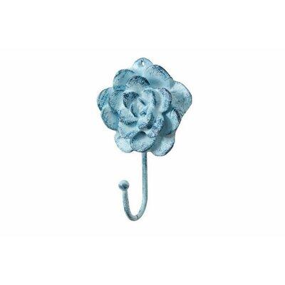Donze Cast Iron Decorative RoseWall Hook Color: Light Blue