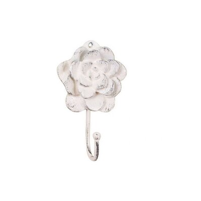 Donze Cast Iron Decorative RoseWall Hook Color: Ivory