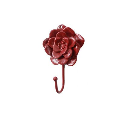 Donze Cast Iron Decorative RoseWall Hook Color: Red