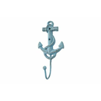 Whitehall Street Cast Iron Anchor Wall Hook Color: Turquoise