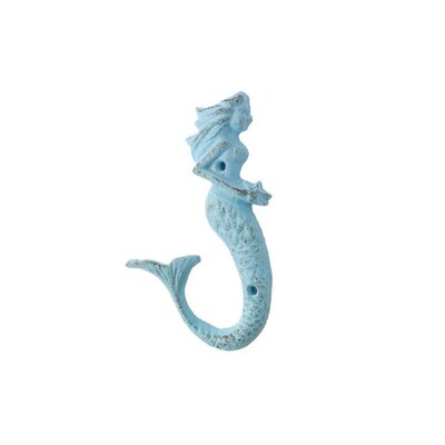 Derrell Cast Iron Decorative Mermaid Wall Hook Color: Turquoise