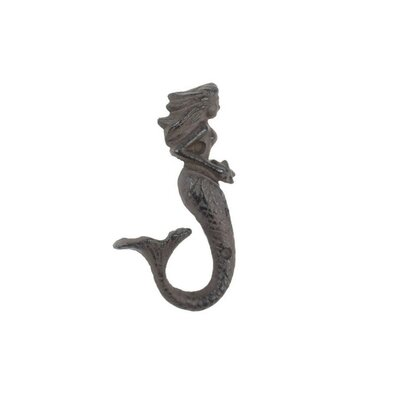 Derrell Cast Iron Decorative Mermaid Wall Hook Color: Brown