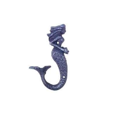 Derrell Cast Iron Decorative Mermaid Wall Hook Color: Purple
