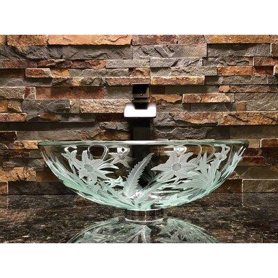 Starflower Glass Circular Vessel Bathroom Sink
