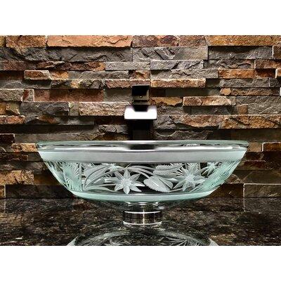 Flower Glass Circular Vessel Bathroom Sink