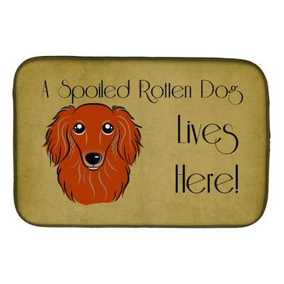 Longhair Creme Dachshund Spoiled Dog Lives Here Dish Drying Mat Finish: Red