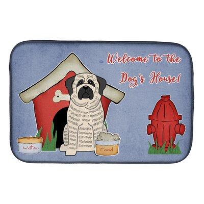 Dog House Mastiff Brindle Dish Drying Mat Finish: White/Black