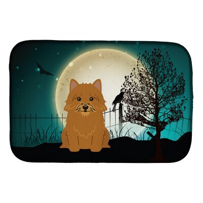 Halloween Scary Norwich Terrier Dish Drying Mat