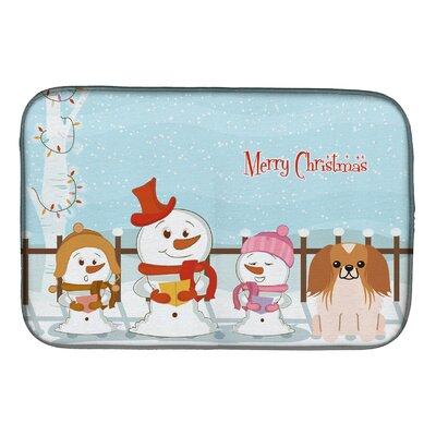 Merry Christmas Carolers Pekingese Dish Drying Mat Finish: Red/White