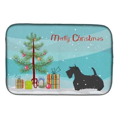 Scottish Terrier Merry Christmas Tree Dish Drying Mat