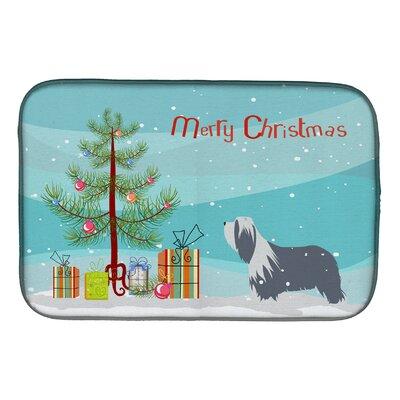Bearded Collie Dog Merry Christmas Tree Dish Drying Mat