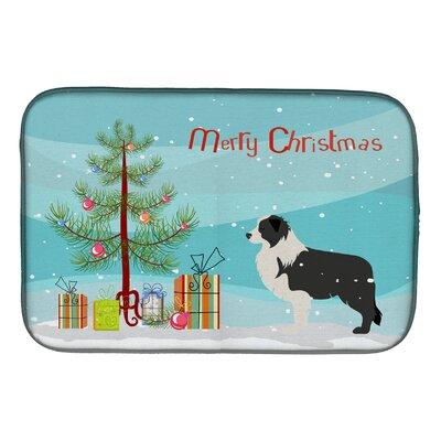 Border Collie Merry Christmas Tree Dish Drying Mat