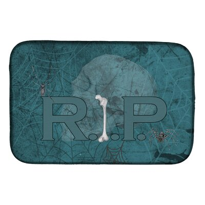 Rip Rest in Peace with Spider Web Halloween Dish Drying Mat