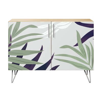 Seabrook 2 Door Accent Cabinet Color (Base/Top): Natural/Chrome