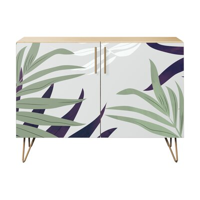 Seabrook 2 Door Accent Cabinet Color (Base/Top): Natural/Brass
