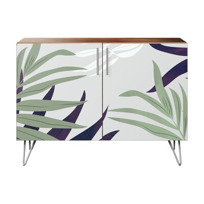 Seabrook 2 Door Accent Cabinet Color (Base/Top): Walnut/Chrome
