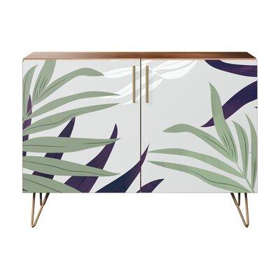 Seabrook 2 Door Accent Cabinet Color (Base/Top): Walnut/Brass