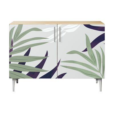 Northumberland 2 Door Accent Cabinet Color (Base/Top): Natural/Chrome