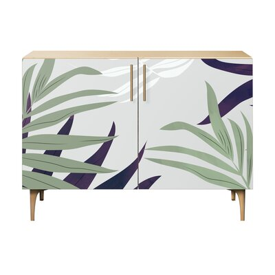 Northumberland 2 Door Accent Cabinet Color (Base/Top): Natural/Brass