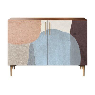 Durgin 2 Door Accent Cabinet Color (Base/Top): Walnut/Brass