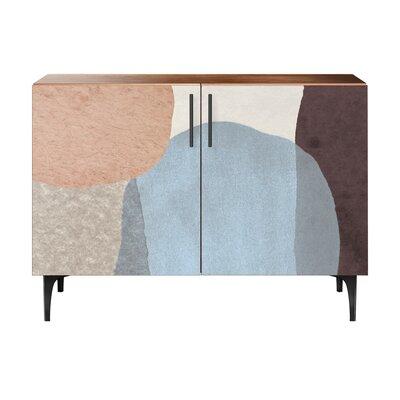 Durgin 2 Door Accent Cabinet Color (Base/Top): Walnut/Black