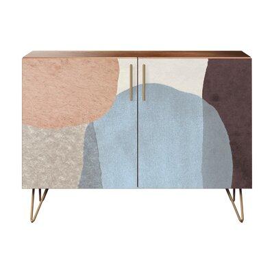Duren 2 Door Accent Cabinet Color (Base/Top): Walnut/Brass