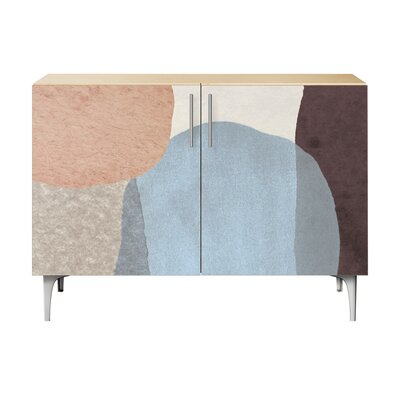 Durgin 2 Door Accent Cabinet Color (Base/Top): Natural/Chrome