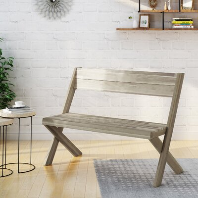 Acacia Wood Bench Color: Sandblast Light Gray