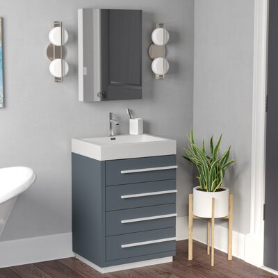 """Copher 23"""" Single Bathroom Vanity Set with White Top and Mirror Base Finish: Gray, Faucet Finish: Polished Chrome"""