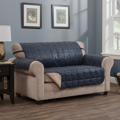 """T-Cushion Sofa Slipcover Size: 0.25"""" H x 110"""" W x 75.5"""" D, Upholstery: Navy"""