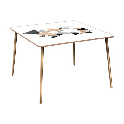 Ledyard Dining Table Base Color: Brass, Top Color: Walnut