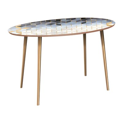 Corinth Dining Table Base Color: Brass, Top Color: Walnut