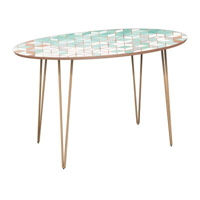 Gowins Dining Table Base Color: Brass, Top Color: Walnut