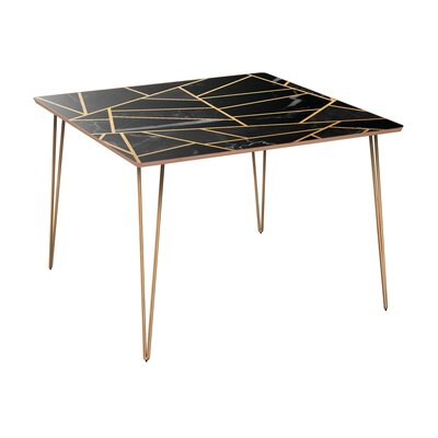Gurganus Dining Table Table Base Color: Brass, Table Top Color: Walnut